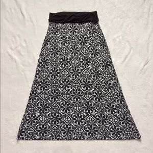 Girls Long Black & White Skirt